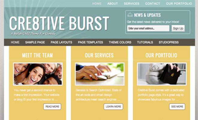 Cre8tive Burst StudioPress Genesis WordPress Child Theme