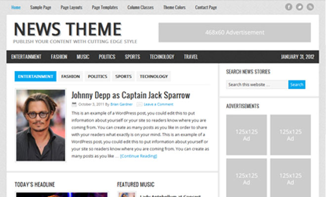 News Theme StudioPress Genesis WordPress Child Theme
