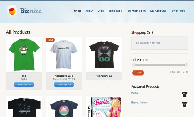 WooThemes Bizznizz WordPress WooCommerce themes