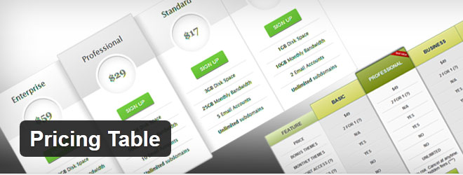 WordPress Free Pricing Table plugin