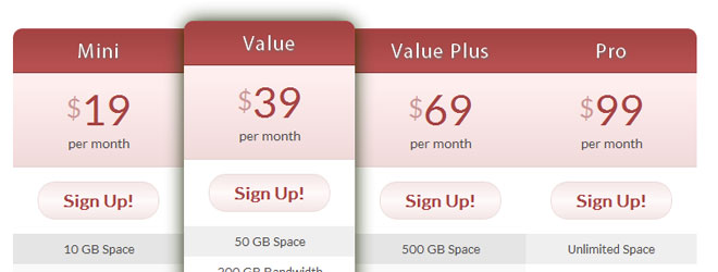 CSS3 Pricing Tables for WordPress
