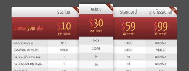 CSS3 WordPress Web Pricing Tables Plugin