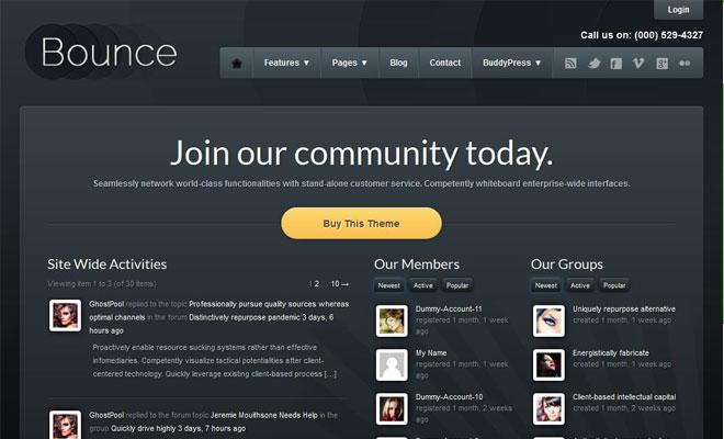 Bounce: Responsive Business WordPress BuddyPress Theme
