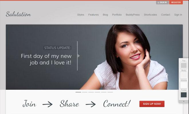 Salutation WordPress BuddyPress Themes