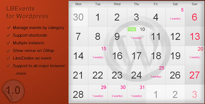 LBEvents WordPress Calendar Plugin
