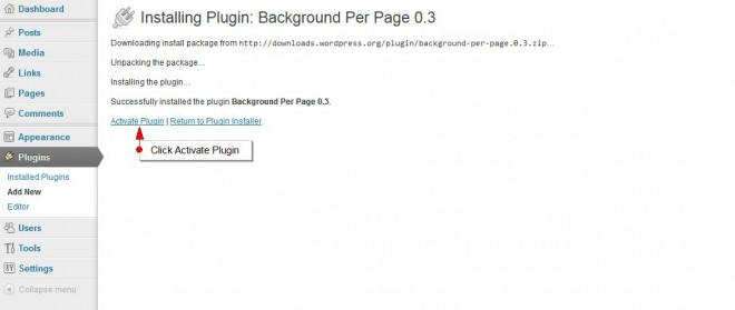 Activate WordPress For Background Pre Page Plugin