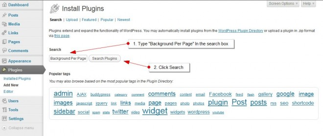 WordPress Search For Background Pre Page Plugin